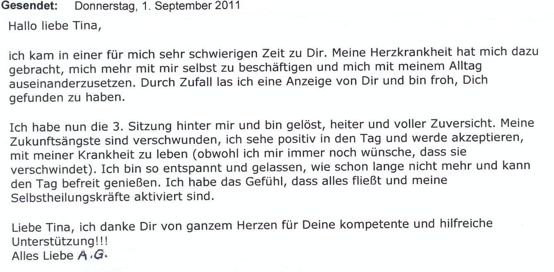 Tina Nelk Hypnose Team Uetze Hänigsen Celle Hannover Briefe